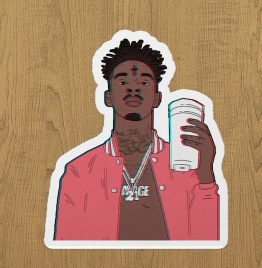 21 savage coffe sticker etiket