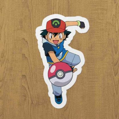pokemon ash sticker etiket