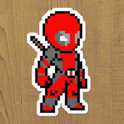 deadpool piksel sticker etiket