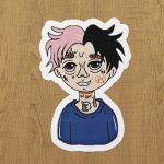 lil peep cartoon sticker etiket