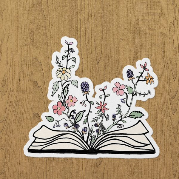 Flowers Book Sticker etiket