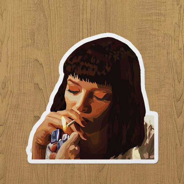 Mia Wallace Smoking Sticker etiket
