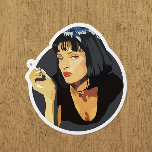 Mia Wallace Smoking(yuvarlak) Sticker etiket