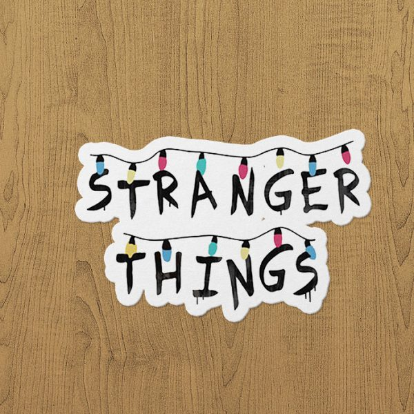 Stragner Things Lamp Sticker etiket