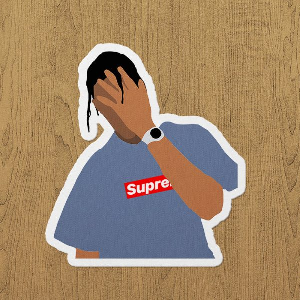 Travis Scott Supreme Sticker etiket