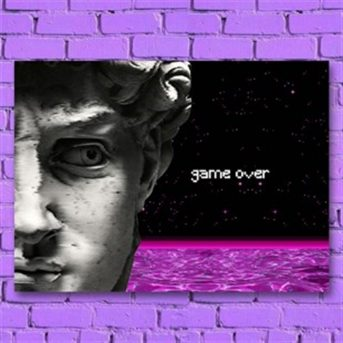 game over ahşap poster