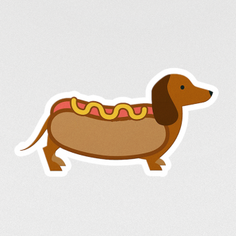 hot dog sticker etiket