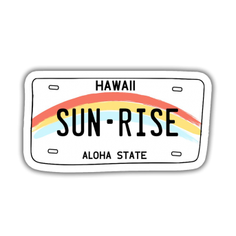 Hawaii Sun Rise Sticker etiket